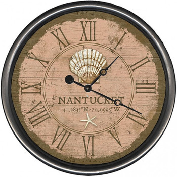 "15"" Nantucket Shell & Starfish Vintage Style Wooden Sign Wall Clock"