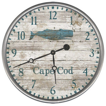 "15"" Custom Cape Cod Whale Vintage Style Wood Sign Wall Clock"