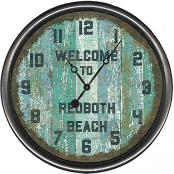 "15"" Welcome to Rehoboth Beach Vintage Style Wooden Sign Wall Clock"
