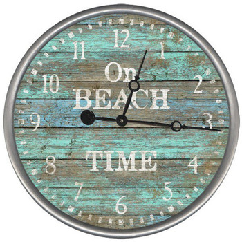 "15"" Custom On Beach Time Vintage Style Wood Sign Wall Clock"