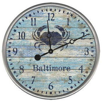 "15"" Custom Baltimore Blue Crab Vintage Style Wood Sign Wall Clock"