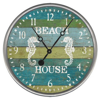 "15"" Custom Beach House Seahorses Vintage Style Wood Sign Wall Clock"