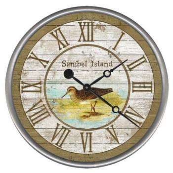 """15"""" Custom Sanibel Island Sandpiper Vintage Style Wood Sign Wall Clock"""
