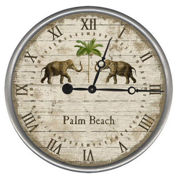 "15"" Custom Palm Beach Elephants Vintage Style Wood Sign Wall Clock"