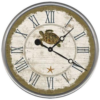 """15"""" Custom Sea Turtle Vintage Style Wood Sign Wall Clock"""