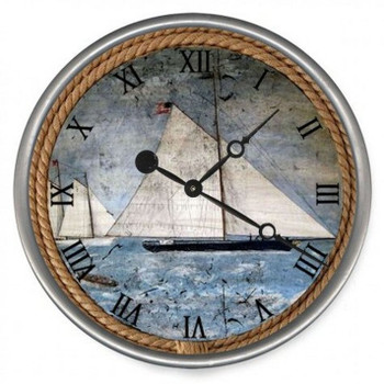 "15"" Custom Schooner Sailing Ship Vintage Style Wood Sign Wall Clock"