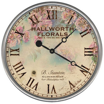 "15"" Custom Hallworth Florist Vintage Style Wood Sign Wall Clock"