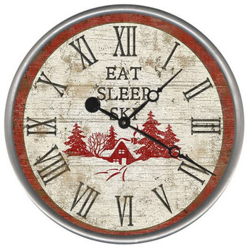 "15"" Custom Eat Sleep Ski Vintage Style Wood Sign Wall Clock"