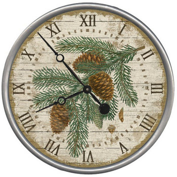 "15"" Custom Pinecones Vintage Style Wood Sign Wall Clock"