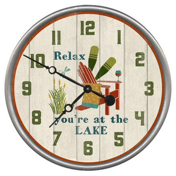 "15"" Custom Relax You're at the Lake Vintage Style Wood Sign Wall Clock"
