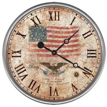 "15"" Custom Liberty Flag & Eagle Vintage Style Wood Sign Wall Clock"