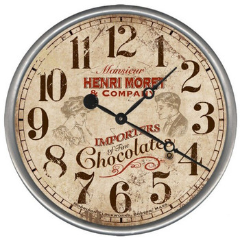 "15"" Custom Fine Chocolates Vintage Style Wood Sign Wall Clock"