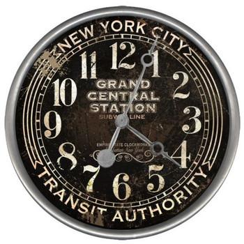 "15"" Custom NYC Subway Transit Auth Vintage Style Wood Sign Wall Clock"