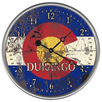 "15"" Custom Durango Colorado Flag Vintage Style Wood Sign Wall Clock"
