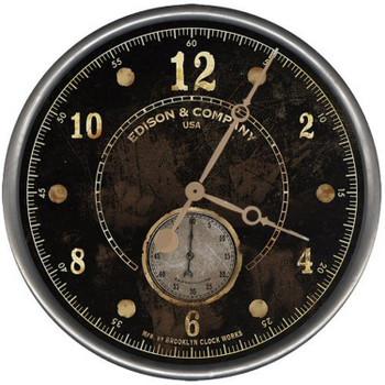 "15"" Custom Edison & Co Black Vintage Style Wood Sign Wall Clock"