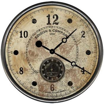 "15"" Custom Edison & Co White Vintage Style Wood Sign Wall Clock"