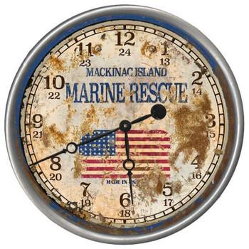 "15"" Custom Marine Rescue Vintage Style Wood Sign Wall Clock"