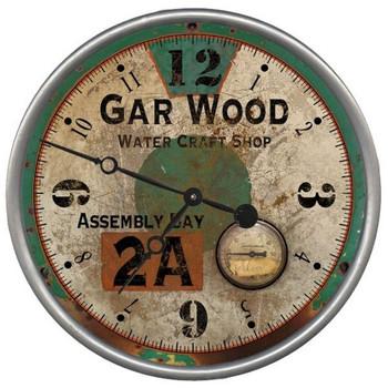 "15"" Custom Gar Wood Water Craft Shop Vintage Style Wood Wall Clock"