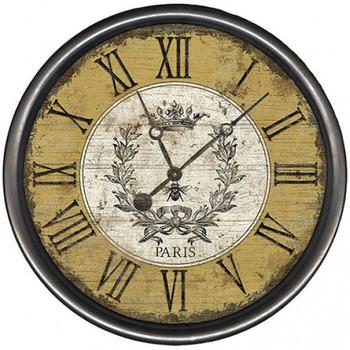 "15"" Custom Paris Vintage Bee Vintage Style Wooden Sign Wall Clock"