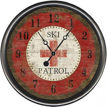 "15"" Custom Ski Patrol Vintage Style Wooden Sign Wall Clock"