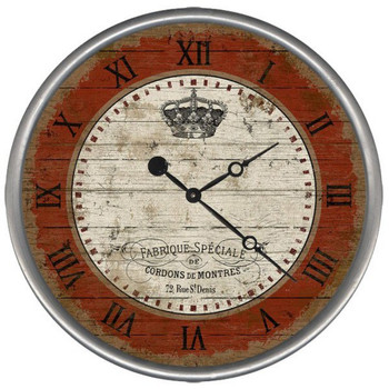 "15"" Custom French Crown Vintage Style Wood Sign Wall Clock"