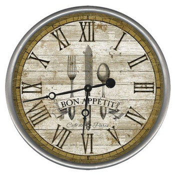 """15"""" Custom Bon Appetit Cafe De Paris Vintage Style Wood Wall Clock"""