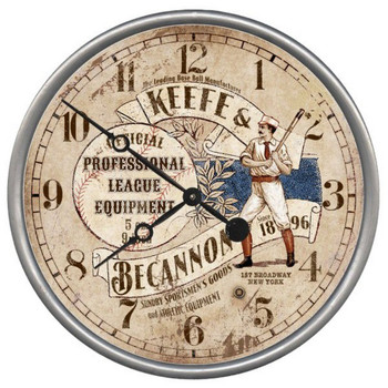 "15"" Custom Old Time Baseball Vintage Style Wood Sign Wall Clock"