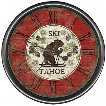 "15"" Custom Ski Tahoe Bear Vintage Style Wooden Sign Wall Clock"