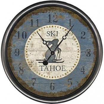 "15"" Custom Ski Tahoe Blue Bunny Vintage Style Wooden Sign Wall Clock"