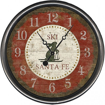 "15"" Custom Ski Santa Fe Red Bunny Vintage Style Wooden Sign Wall Clock"