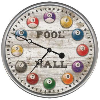 "15"" Custom Pool Hall Billiard Balls Vintage Style Wood Sign Wall Clock"