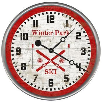 "15"" Custom Winter Park Crossed Skis Vintage Style Wood Sign Wall Clock"