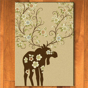 8' x 11' Abstract Moose Blossom Natural Wildlife Rectangle Rug