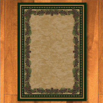 8' x 11' Pine Cone Mountain Green Nature Rectangle Rug