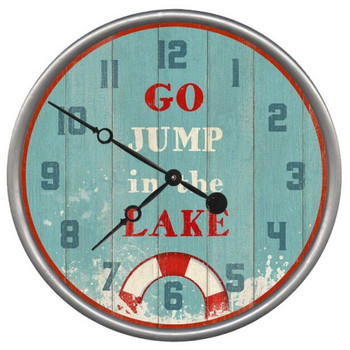 "15"" Custom Go Jump in the Lake Vintage Style Wood Sign Wall Clock"