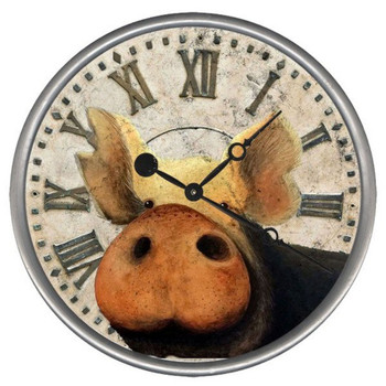 "15"" Custom Pig Vintage Style Wood Sign Wall Clock"
