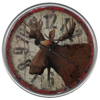 "15"" Custom Moose Vintage Style Wood Sign Wall Clock"