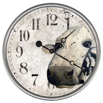 "15"" Custom Cow Vintage Style Wood Sign Wall Clock"
