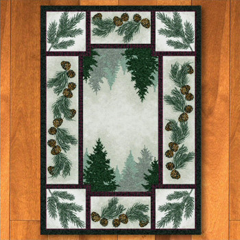 8' x 11' Pine Forest with Pinecones Nature Rectangle Rug