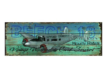 Custom Beech 18 Scenic Tours Vintage Style Wooden Sign