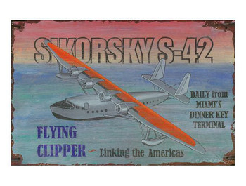 Custom Sikorsky S-42 Flying Clipper Vintage Style Wooden Sign