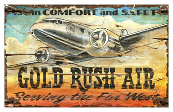 Custom Gold Rush Air DC3 Plane Vintage Style Wooden Sign
