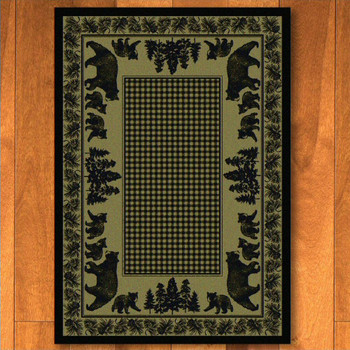 8' x 11' Bear Family Green Wildlife Rectangle Rug