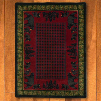 8' x 11' Bear Family Multi Color Wildlife Rectangle Rug