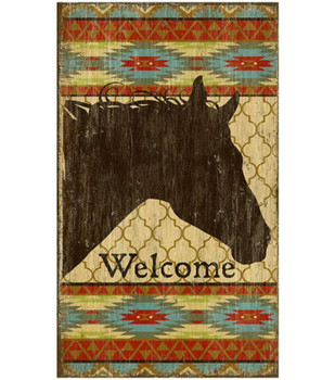 Custom Southwestern Welcome Horse Vintage Style Wooden Sign