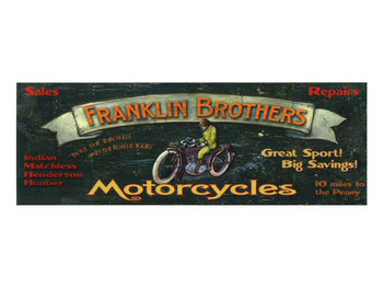 Custom Franklin Brothers Motorcycles Vintage Style Wooden Sign
