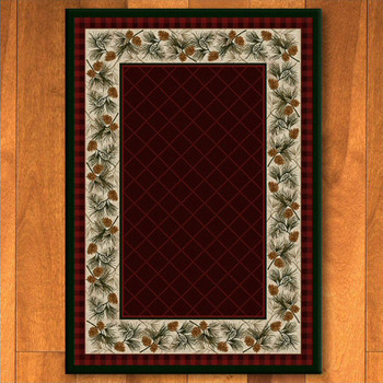 8' x 11' Evergreen Garnet Pinecones Nature Rectangle Rug