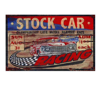 Custom Stock Car Racing Vintage Style Wooden Sign