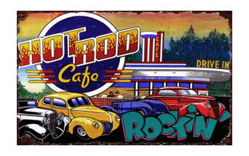 Custom Hot Rod Cafe Vintage Style Wooden Sign