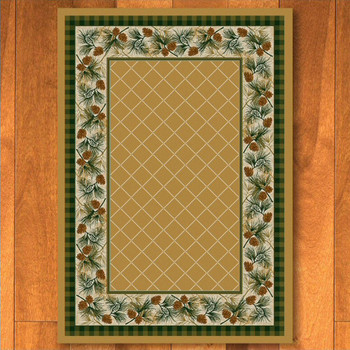 8' x 11' Evergreen Light Maize Pinecones Nature Rectangle Rug